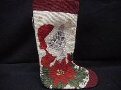 Cat with Poinsettia Needlepoint Stocking