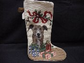 Greyhound Needlepoint Stocking