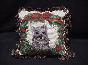 Schnauzer Holiday Pillow
